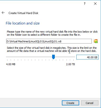 Create Virtual Hard Disk - File location and size settings