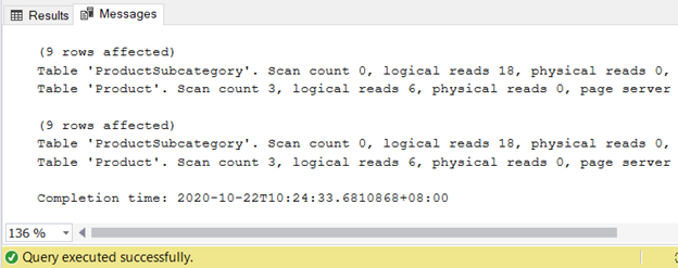 Both queries have the same logical reads for the 2 input tables.