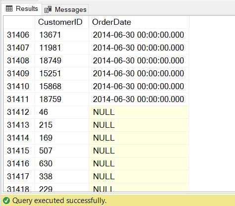 Result set from a LEFT OUTER JOIN that shows both inner and outer rows. Outer rows are those with null values.