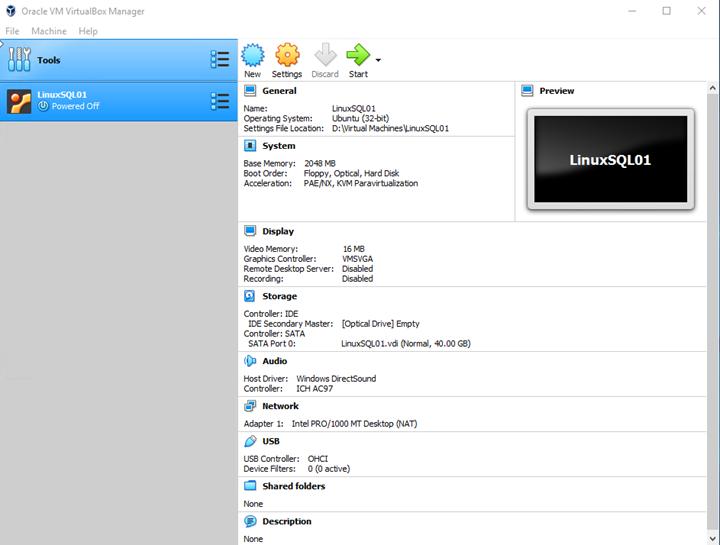Oracle VM VirtualBox Manager settings