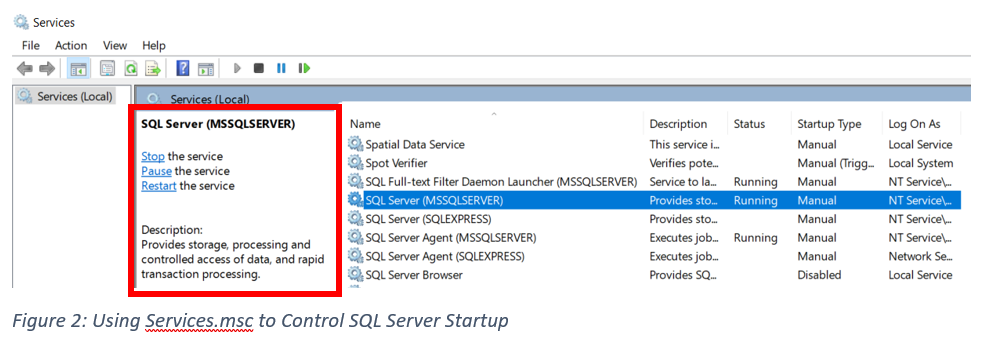 Using Services.msc to Control SQL Server Startup