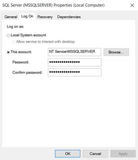 Logon Details for SQL Server Services