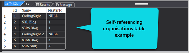 Self-referencing organizations table example