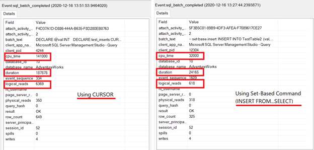 Comparing xEvent profiles of using SQL CURSOR and set-based command to insert records to a table.