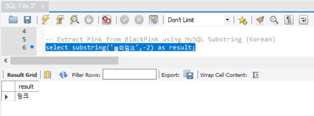 Extracting Pink from BlackPink in Korean.
