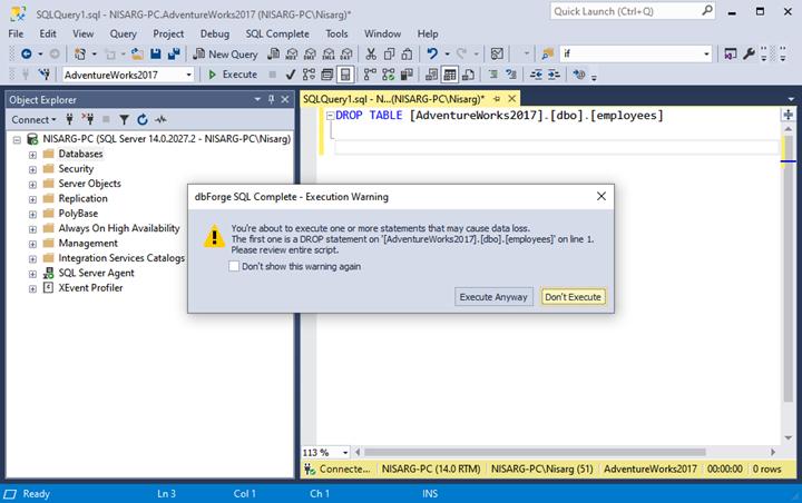 Devart dbForge SQL Complete - DROP TABLE statement execution warning dialog box