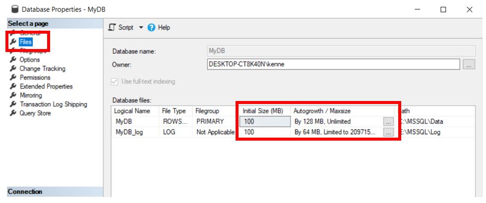 MyDB Database with Default Datafile Sizes