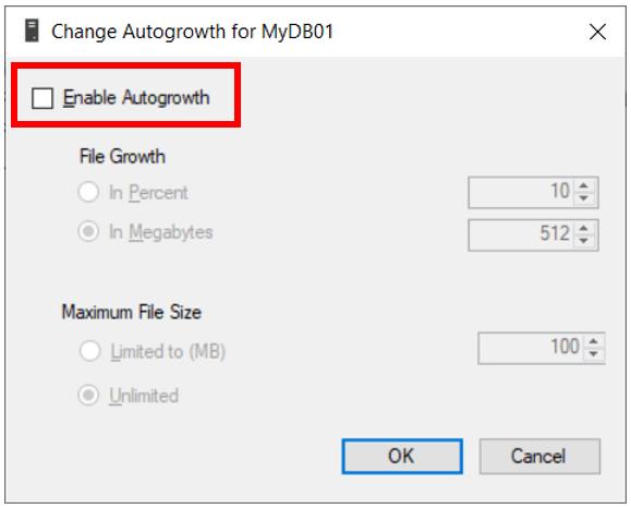 Disable Autogrowth
