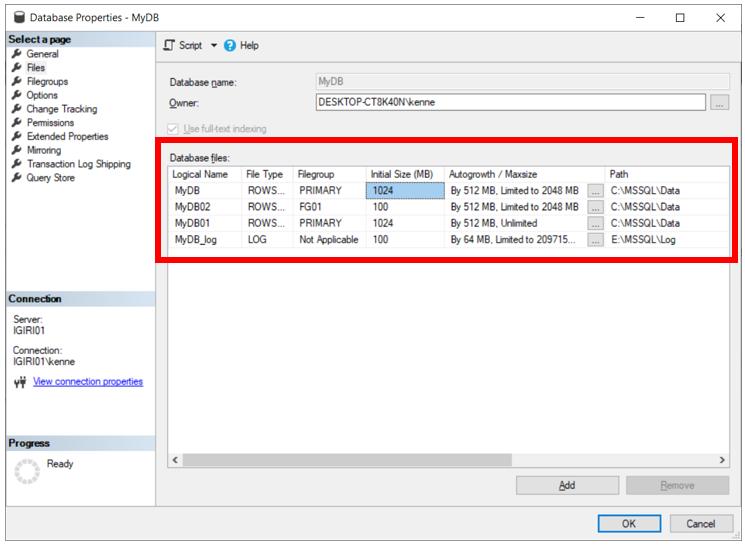 Files in Database MyDB