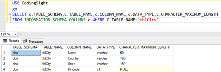 The output of the query to view the column list of the tblCity table