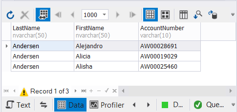Result set of SQL UNION. Results are unique. The other 2 duplicates were removed