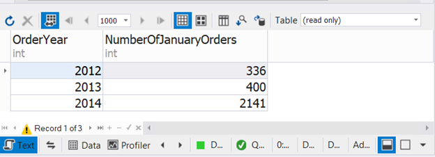 Result set with the number of January orders for 3 consecutive years combined using SQL UNION