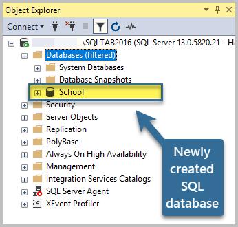Newly created SQL database