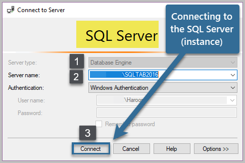 Connecting to the SQL Server (instance)