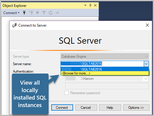 View all locally installed SQL instances