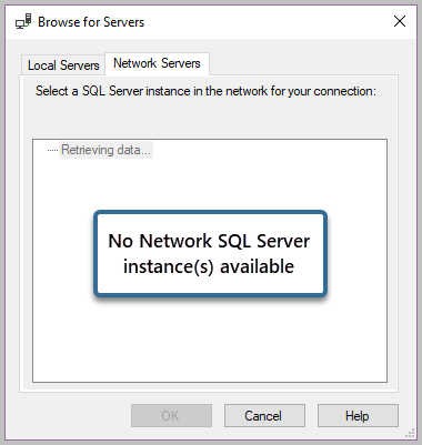 No Network SQL Server instance(s) available