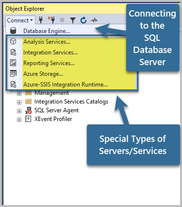 Connecting to the SQL Server Database. Special types of Servers / Services